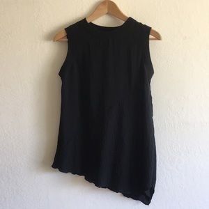 Zara Basic knit back panel & trim asymmetrical top